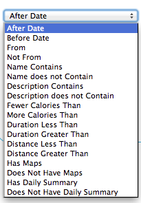 FitnessSyncer Data Filters